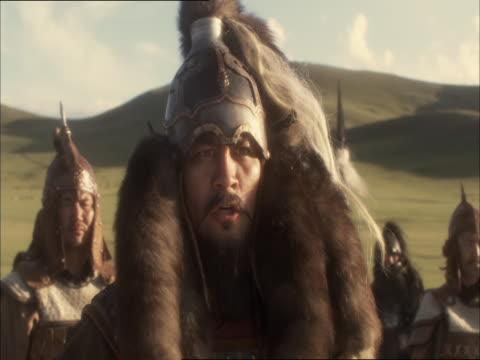 re-enactment of genghis khan inspiring his troops before battle - reenactment stock videos & royalty-free footage