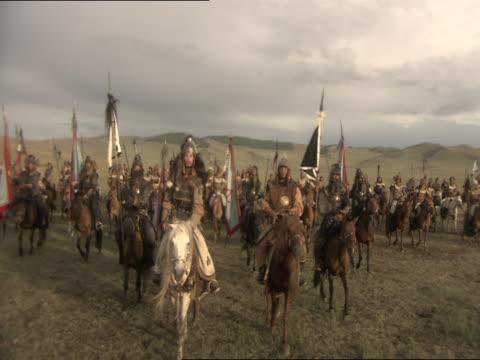 re-enactment of genghis khan leading his army on horseback - reenactment stock videos & royalty-free footage