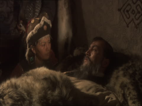 re-enactment of genghis khan lying on deathbed - death stock videos and b-roll footage