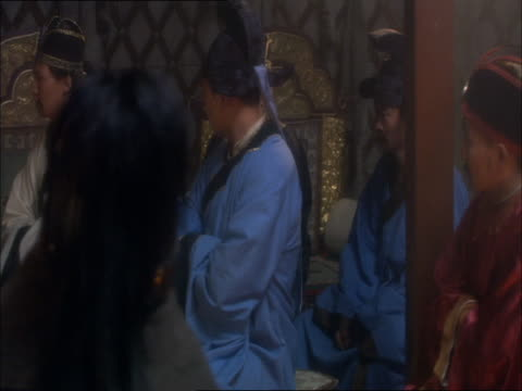 re-enactment of genghis khan sitting amongst his senior aides - reenactment stock videos & royalty-free footage