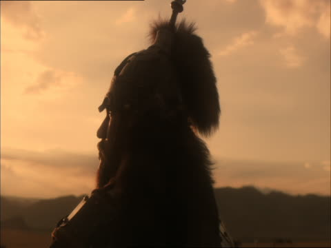 re-enactment of genghis khan standing and looking into the distance - reenactment stock videos & royalty-free footage