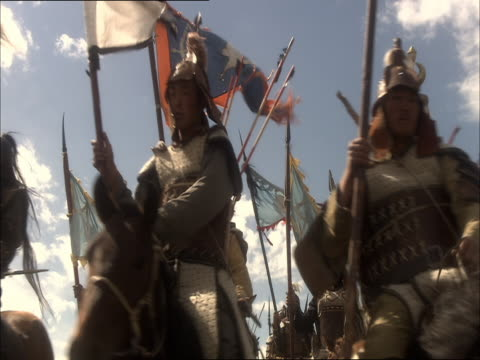 re-enactment of genghis khan's army travelling on horseback towards china - reenactment stock videos & royalty-free footage