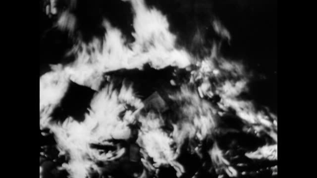 / reenactment of nazis gathered around a large fire throwing books into the flames / political dissenter behind bars. nazi book burning and political... - 1945 stock-videos und b-roll-filmmaterial