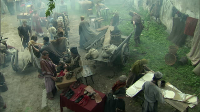 cs, ha, pan, reenactment of people at medieval outdoor market, vilnius, lithuania - reenactment stock videos and b-roll footage