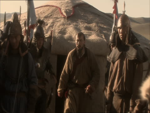 re-enactment of the deliverence to genghis khan of captured enemy - reenactment stock videos & royalty-free footage