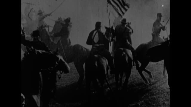 [reenactments of world history events covered by the new york sun the sun produced this footage] title card fifteen years later the nation was torn... - historische nachstellung stock-videos und b-roll-filmmaterial