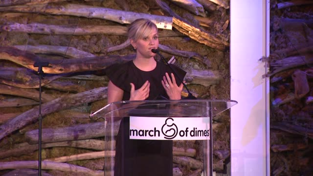 reese witherspoon accepting her award and speaking on the importance of march of dimes at 7th annual march of dimes celebration of babies on in... - 年次イベント点の映像素材/bロール