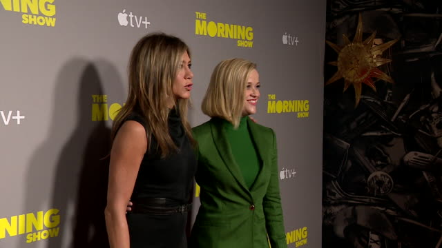 reese witherspoon and jennifer aniston at the launch of their tv show the morning show on apple tv london - apple computers stock videos & royalty-free footage