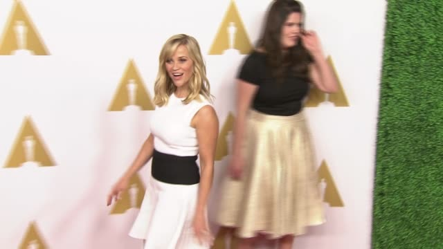 reese witherspoon at 87th annual academy awards nominee luncheon - reception at the beverly hilton hotel on february 02, 2015 in beverly hills,... - the beverly hilton hotel stock videos & royalty-free footage
