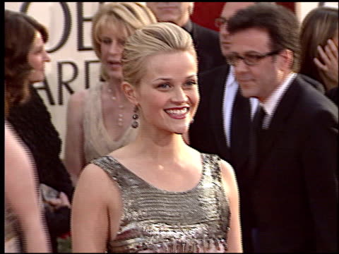 reese witherspoon at the 2006 golden globe awards at the beverly hilton in beverly hills, california on january 16, 2006. - golden globe awards stock videos & royalty-free footage