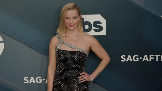 reese witherspoon at the shrine auditorium on january 19, 2020 in los angeles, california. - screen actors guild stock videos & royalty-free footage