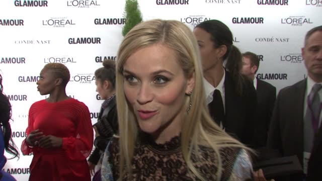 reese witherspoon discusses being honored tonight. jokes that she never gets used to the red carpet, but it's so exciting tonight. on the village it... - interview stock videos & royalty-free footage