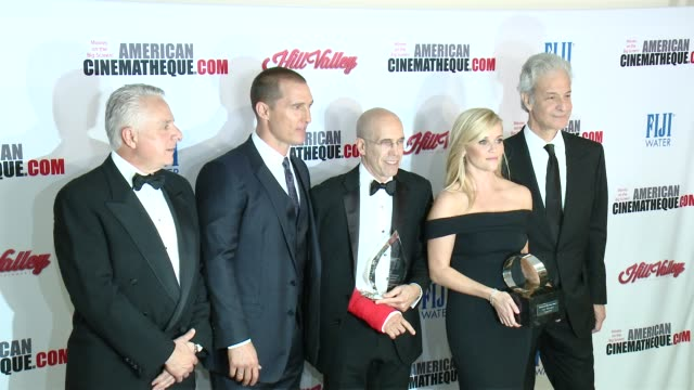 reese witherspoon matthew mcconaughey jeffrey katzenberg mark badagliacca and rick nicita at the 29th annual american cinematheque award presented to... - american cinematheque stock videos & royalty-free footage