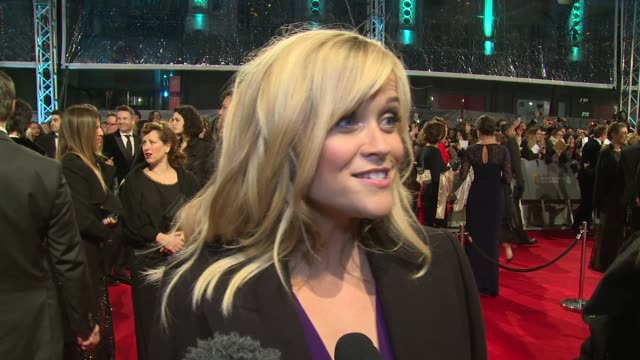 reese witherspoon on being at the baftas and women in film at the ee british academy film awards , 8th february, london, england - interview event stock videos & royalty-free footage