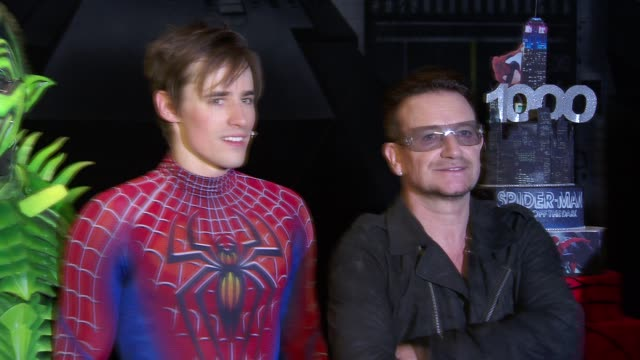 reeve carney and bono at bono and the edge celebrate the 1000th performance of spiderman turn off the dark on broadway at foxwoods theater on may 29... - david 'the edge' howell evans stock videos and b-roll footage