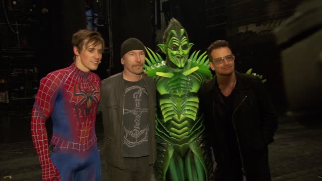 reeve carney the edge and bono at bono and the edge celebrate the 1000th performance of spiderman turn off the dark on broadway at foxwoods theater... - david 'the edge' howell evans stock videos and b-roll footage