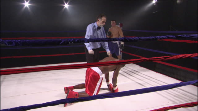 ws zo referee counting down and calling fight after knockout, then winning boxer jumps onto ropes and congratulates his opponent / jacksonville, florida, usa - showing off stock videos and b-roll footage