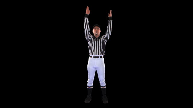 referee giving touchdown signal - this clip has an embedded alpha-channel - pre matted stock videos & royalty-free footage