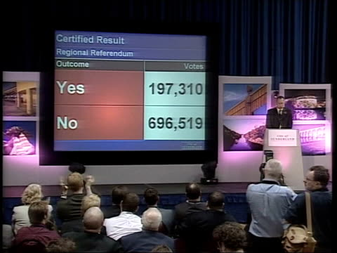 referenda plans scrapped itn england newcastle int lms results of north east regional referendum projected on screen on stage people on balcony... - north east england stock videos and b-roll footage