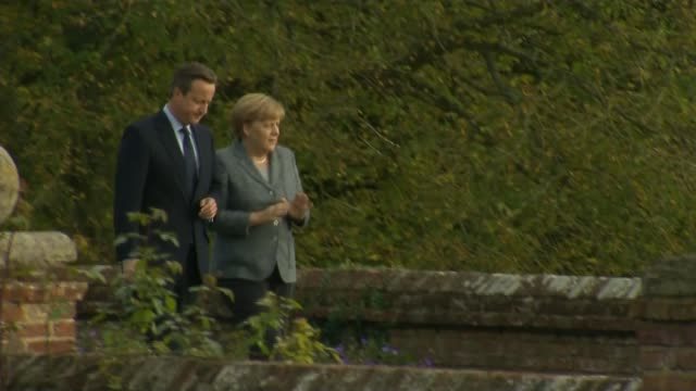 eu referendum / angela merkel visit to chequers england buckinghamshire chequers ext ornamental gardens prime minister david cameron mp along with... - angela merkel stock videos & royalty-free footage