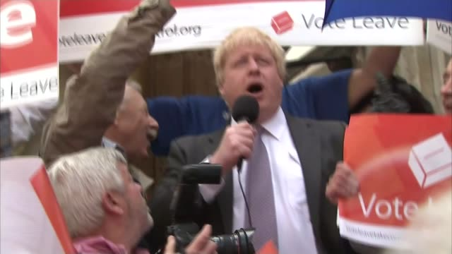 referendum campaign: 2015 net migration figures released; england: winchester: ext boris johnson mp addressing crowd of leave campaigners on... - oxford england stock videos & royalty-free footage
