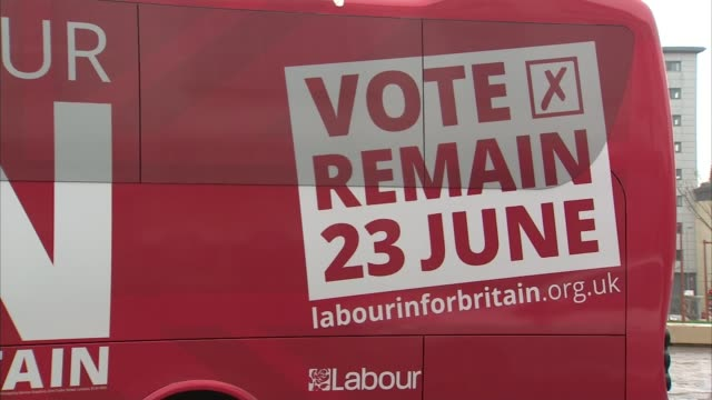 referendum campaign: alan johnson campaigning; sky pool england: leicester: ext activists holding 'labour in for britain' and 'vote remain' placards... - gloria de piero stock videos & royalty-free footage