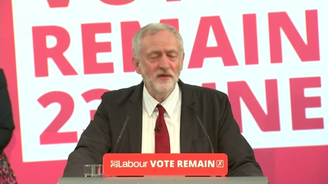 Angela Merkel urges Britain to stay in the EU / Jeremy Corbyn speech ENGLAND INT Jeremy Corbyn MP speech SOT If you vote on the 23rd June I hope you...