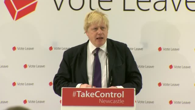 referendum campaign / anti austerity march in london; tyneside: newcatle upon tyne: int boris johnson mp onto stage vote leave rally as applauded by... - letterbox stock-videos und b-roll-filmmaterial