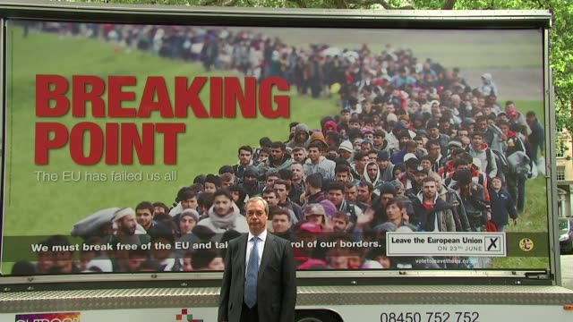 Baroness Warsi switches to Remain from Leave camp 16th June 2016 London Various of Nigel Farage MEP at launch of controversial Breaking Point poster...