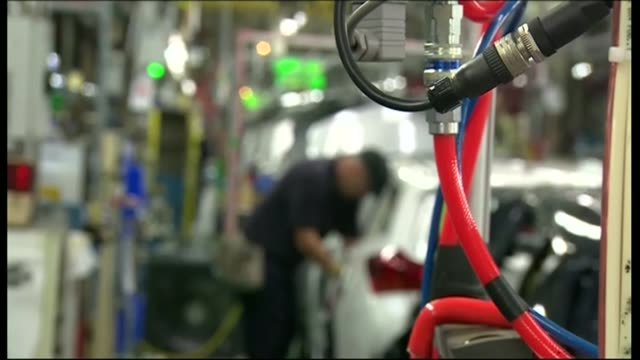 referendum campaign: big businesses warn of the dangers of leaving the european union; lib / derbyshire: derby: toyota plant: int various of cars... - derbyshire stock-videos und b-roll-filmmaterial