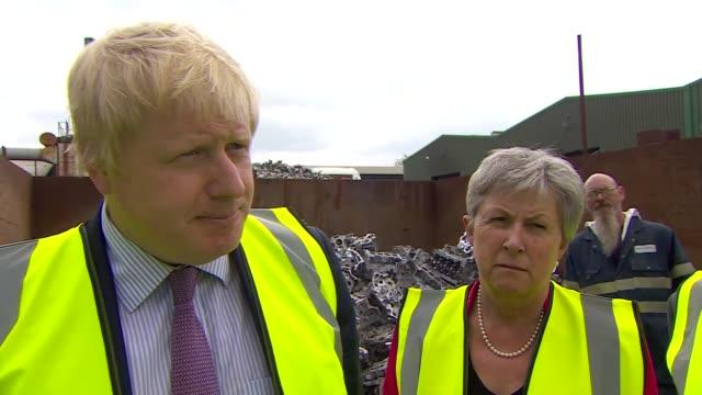 referendum campaign: boris johnson interview in hixon; england: staffordshire: hixon: ext boris johnson mp interview re serco, big business... - control stock videos & royalty-free footage