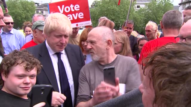 boris johnson interview in norwich england norfolk norwich ext boris johnson mp meeting people and posing for selfie photographs / johnson interview... - norfolk england stock videos & royalty-free footage