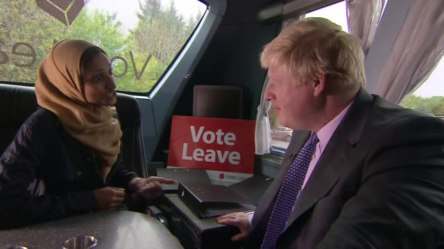 boris johnson launches brexit roadshow in truro ext vote leave campaign bus with slogan 'we send the eu 350 million a week let's fund out nhs... - boris johnson stock-videos und b-roll-filmmaterial