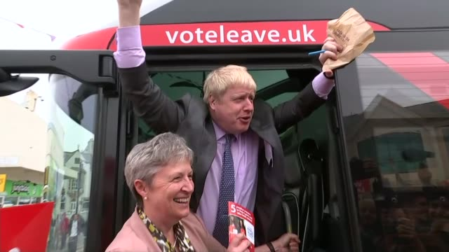 referendum campaign: boris johnson launches brexit roadshow in truro; england: cornwall: truro: ext boris johnson mp photocall with gisela stuart mp... - referendum stock videos & royalty-free footage