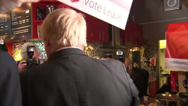 boris johnson visits cafe in ipswich england suffolk ipswich ext boris johnson mp arriving at cafe johnson ordering drinks in cafe and speaking to... - protestor stock videos & royalty-free footage