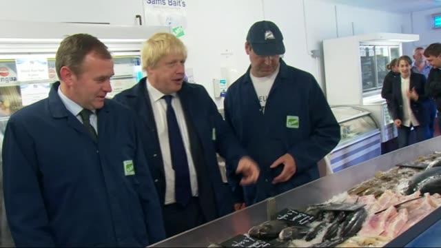 referendum campaign: boris johnson visits fish factory in lowestoft; england: suffolk: lowestoft: sam cole food group: int boris johnson mp arriving... - ローストフト点の映像素材/bロール