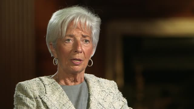 christine lagarde brexit warning / john major speech england london int christine lagarde interview sot all the indicators are in the same direction... - ジュリー エッチンガム点の映像素材/bロール