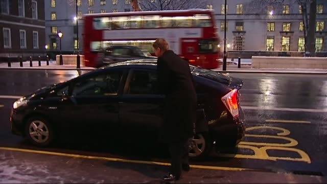 referendum campaign: conservative infighting; lib england: london: ext / night jeremy heywood out of car and along to cabinet office - jeremy heywood stock videos & royalty-free footage