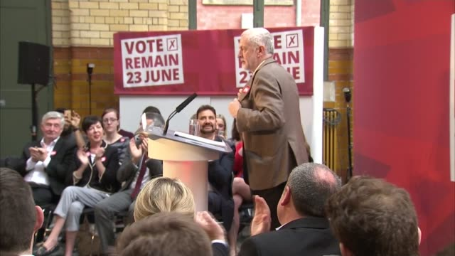 referendum campaign: david cameron makes appeal for remain vote; manchester: int jeremy corbyn mp along to podium jeremy corbyn mp speech sot - their... - referendum stock videos & royalty-free footage