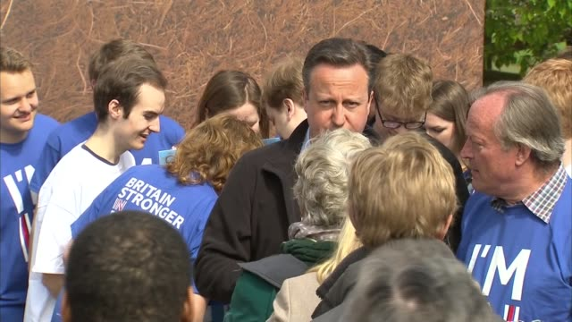david cameron speech david cameron chats with vote remain supporters and poses for photos - referendum stock videos & royalty-free footage