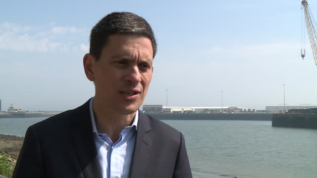 david miliband speech ext miliband interview sot miliband and others posing with placards supporting the remain campaign - david miliband stock videos & royalty-free footage
