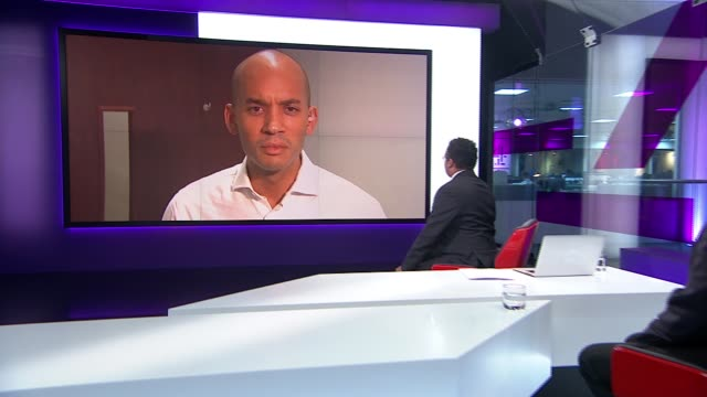 first day of official campaign england london gir int george galloway live studio interview and chuka umunna mp live 2way interview from south london... - referendum stock-videos und b-roll-filmmaterial