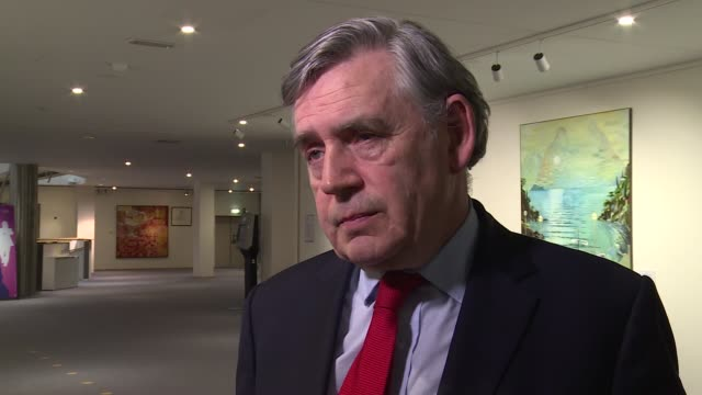 gordon brown interview belgium brussels int gordon brown mp interview sot on ifs figures / eu referendum campaign / on comments by alan sugar about... - alan sugar stock videos & royalty-free footage