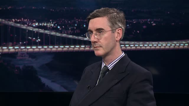 governor of the bank of england 'referendum report' warns of brexit dangers location unknown jacob reesmogg mp interview sot [on mark carney] oh very... - バンク オブ イングランド点の映像素材/bロール
