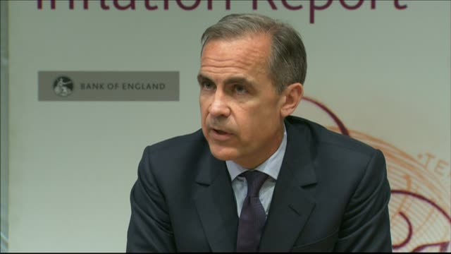 governor of the bank of england 'referendum report' warns of brexit dangers england london int mark carney speaking at press conference sot if there... - インフレ点の映像素材/bロール