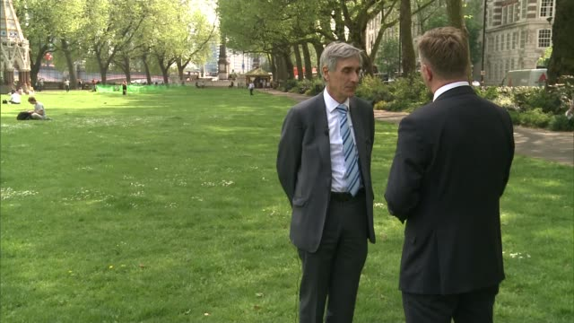 governor of the bank of england 'referendum report' warns of brexit dangers london ext john redwood mp setup shot with reporter / interview sot... - バンク オブ イングランド点の映像素材/bロール