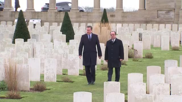 hollande warns of consequences of britain leaving the european union france pozieres ext british prime minister david cameron mp and president... - makeshift stock videos and b-roll footage