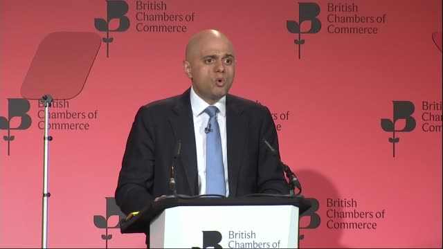 hollande warns of consequences of britain leaving the european union england london british chambers of commerce sajid javid mp along on stage to... - 2016 european union referendum stock videos and b-roll footage
