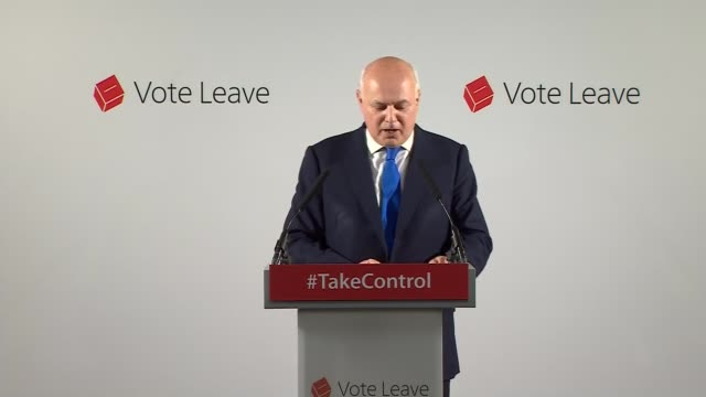 iain duncan smith speech for vote leave england london lambeth int iain duncan smith mp along to podium and speech sot - lambeth stock videos & royalty-free footage