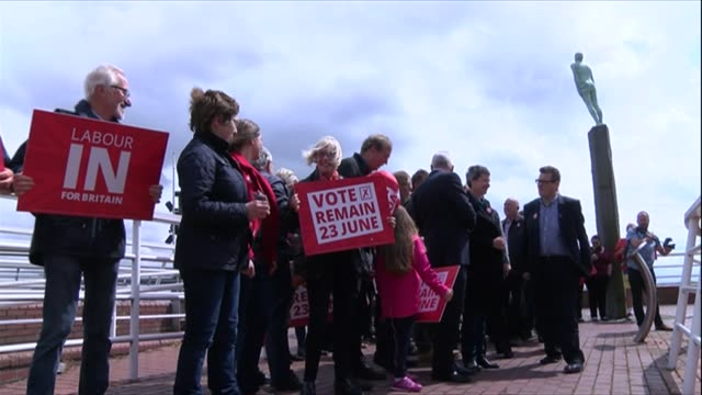 John Prescott and Alan Johnson campaigning ENGLAND Hull EXT 'Labour In for Britain' campaign bus arrives / Alan Johnson MP and John Prescott out of...